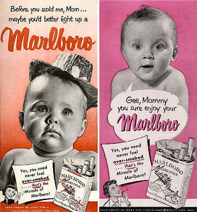 retro marlboro ad with children and smoking